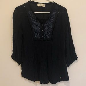 Navy Peasant Top with Embroidery Detail